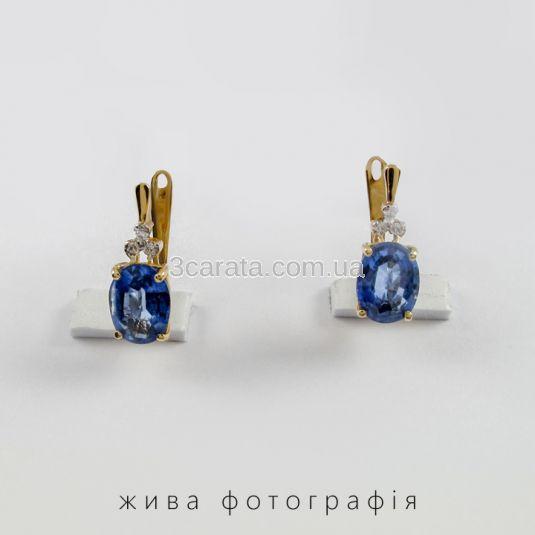 Золоті сережки з кіанітом і діамантами «Морське око»