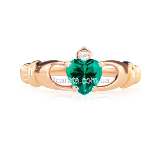 Кладдахське кільце з гідросмарагдом-серцем «Gold Claddagh»