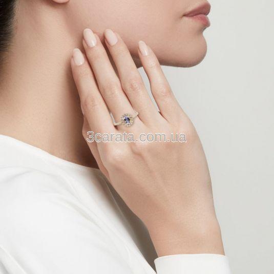 Каблучка з овальним яскравим аметистом «Twinkle»