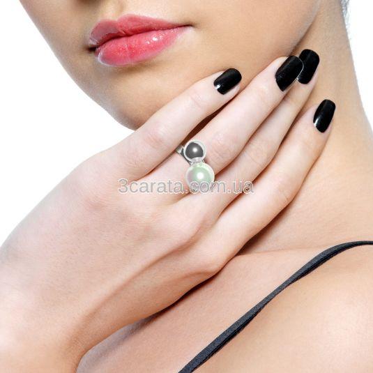 Золоте ексклюзивне кольцо з перлиною «Pearl kiss»