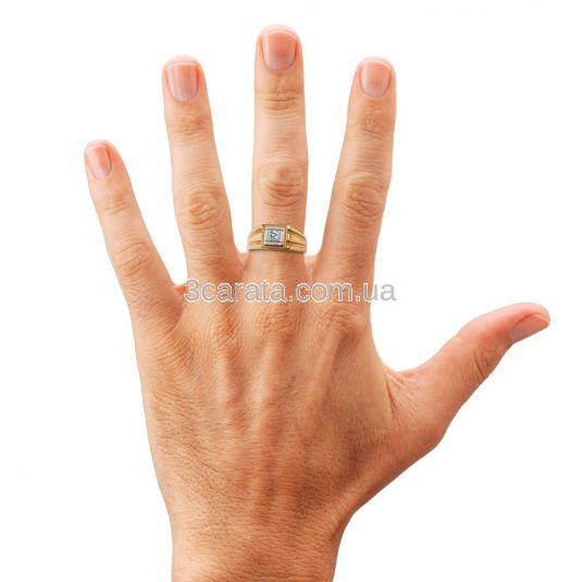 Перстень чоловічий з одним діамантом «Леонардо»