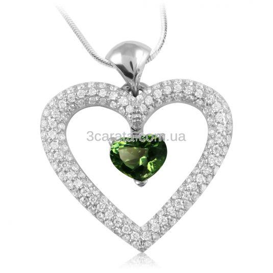 Золотий кулон-серце з турмаліном «Love heart»