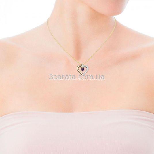 Золотий кулон-серце з аметистом і цирконієм «Loving heart»