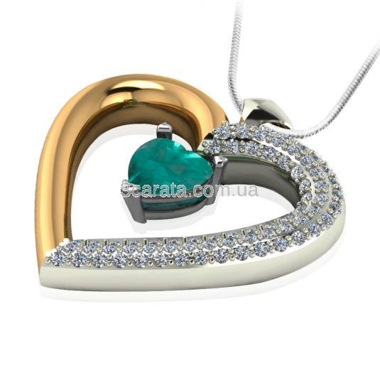 Золотий кулон з смарагдом і цирконієм «Loving heart»