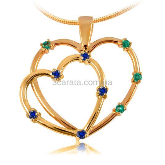 Золотий кулон зі смарагдами і сапфірами «Два серця»