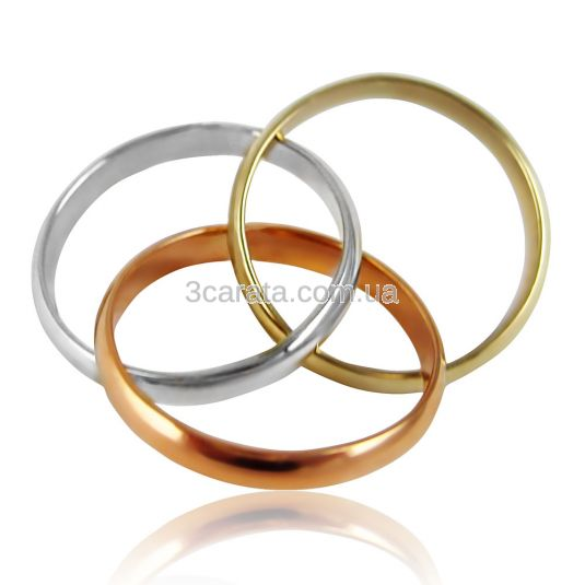 Золотое обручальное кольцо «Тринити»