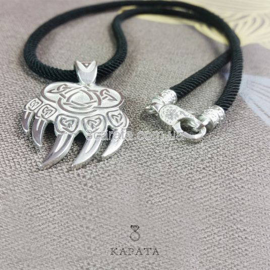 Срібний кулон «Печатка Велеса - ведмежа лапа»