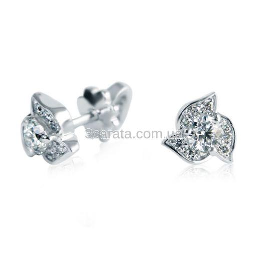 Сережки-пусети з діамантами «Трилисник»