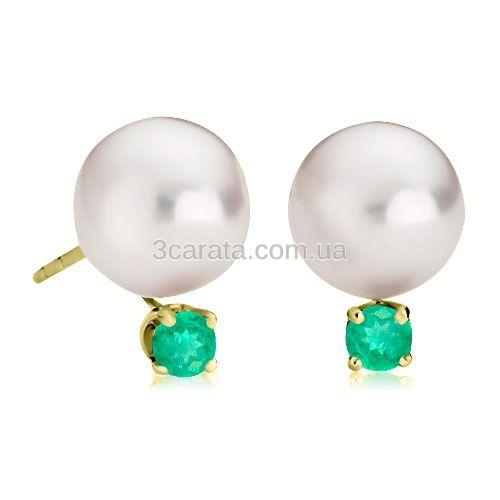 Сережки з перлами і смарагдом «Креолка»