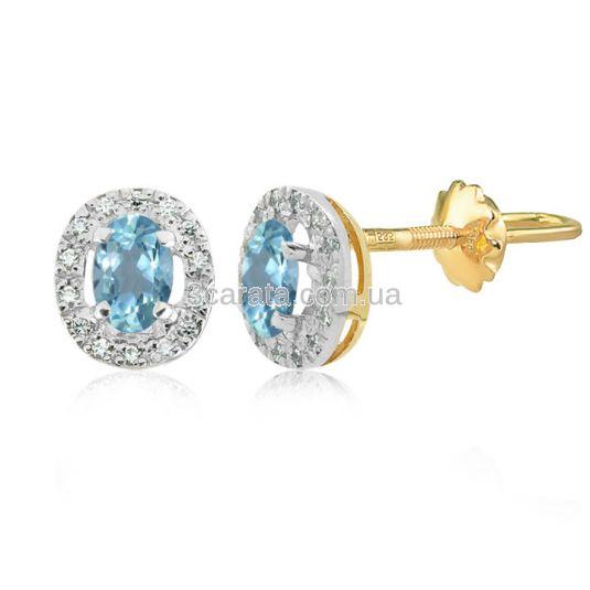 Сережки золоті з овальними топазами «Twinkle»