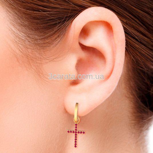 Сережки крести з рубінами «Fancy»