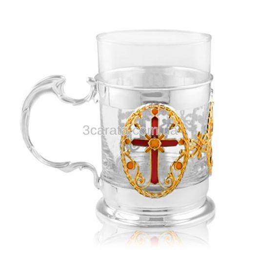 Серебряный церковный подстаканник с позолотой