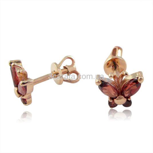 Золоті сережки метелики з гранатами  «Little Miss»