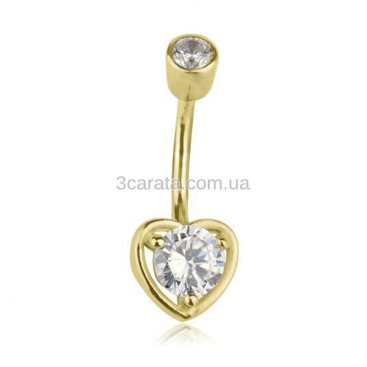 Пірсинг в пупок з кристалами Сваровськи «Сердечко»