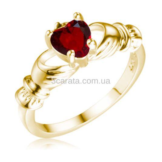 Кладдахское кольцо з гранатовим серцем «Gold Claddagh»