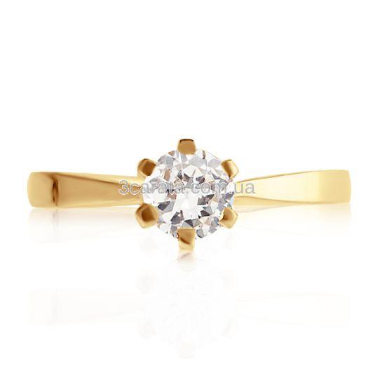 Золота каблучка зі Сваровськи на заручини «Рейчел» d8129481d8b18