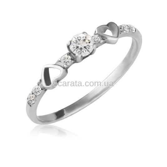Каблучка з золотим серцем і діамантами «Вірність» a735f2640f2ee