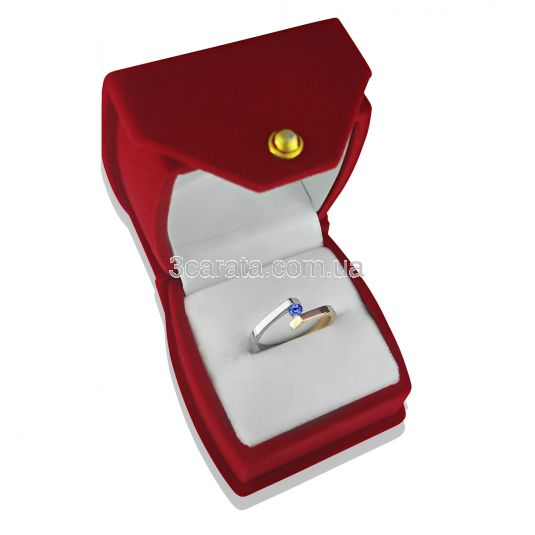 Каблучка із комбінованого золота з танзанітом «Аннет»