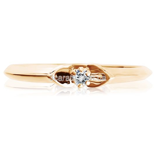 Золота жіноча каблучка з діамантом 0,03 Ct «Елегантний шик»