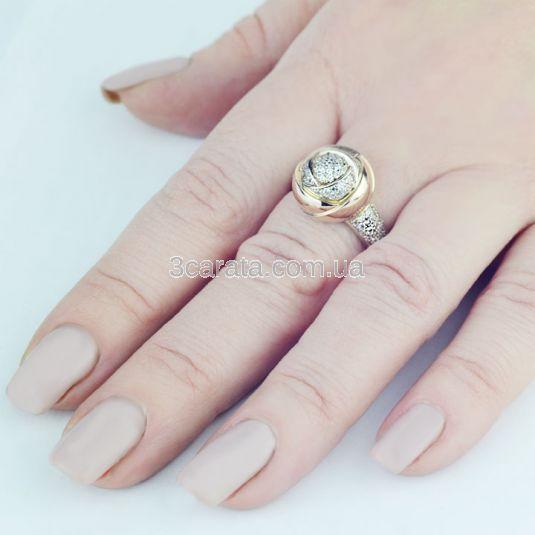 Перстень жіночий «Троянда Даміано» з камінням Сваровські