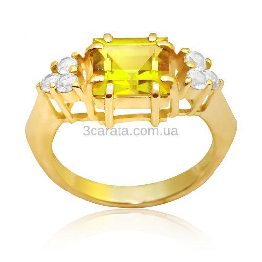 Золоте кільце з цитрином «Дороги любові»