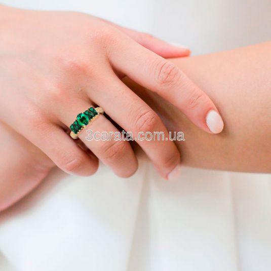 Золота каблучка з гідротермальними смарагдами «Aqua Emerald»