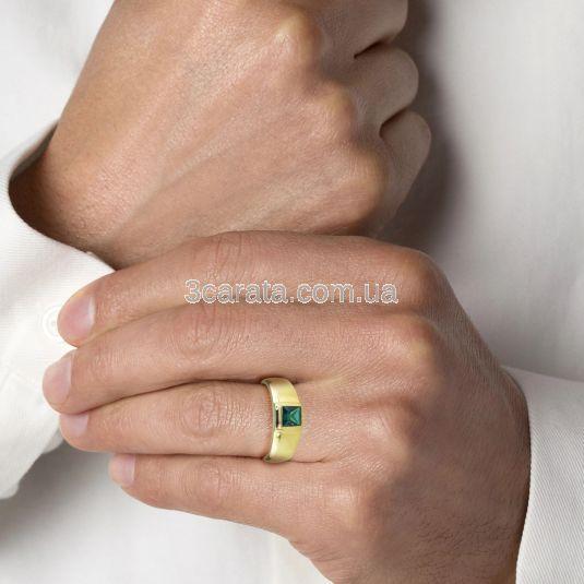 Золота чоловіча печатка з гідросмарагдом «Хранитель»