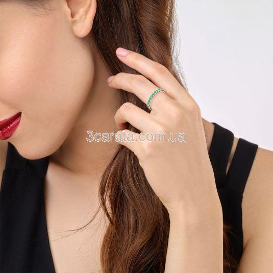 Золота каблучка доріжка з смарагдами «Beautify»