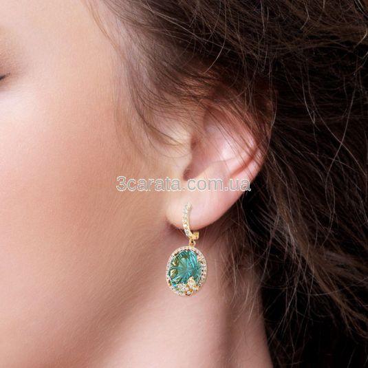 Золоті сережки із зеленим кварцем «Літня ніч»