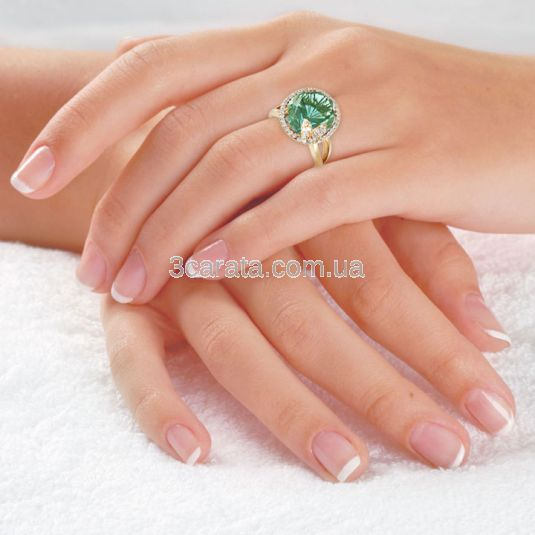 Золотий перстень із зеленим кварцем «Літня ніч»