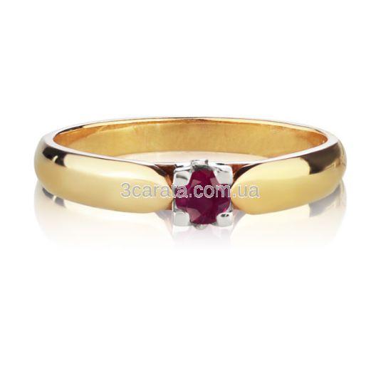 Золота каблучка з рубіном «Королевна»
