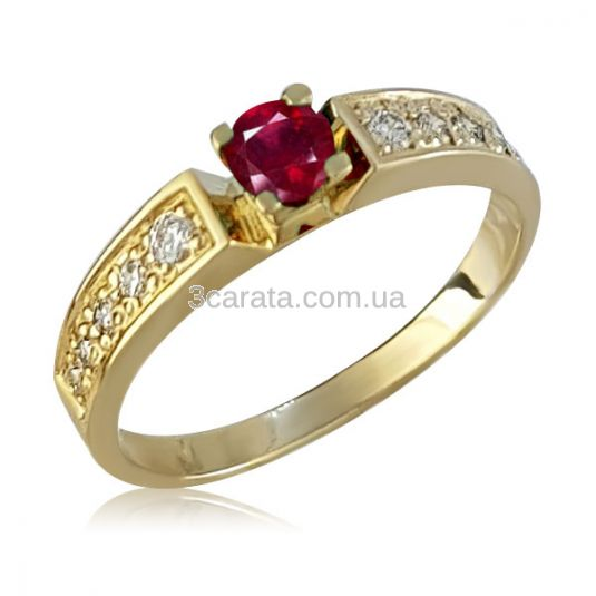 Золота каблучка на заручини з рубіном «Lovesong» 276c661274773