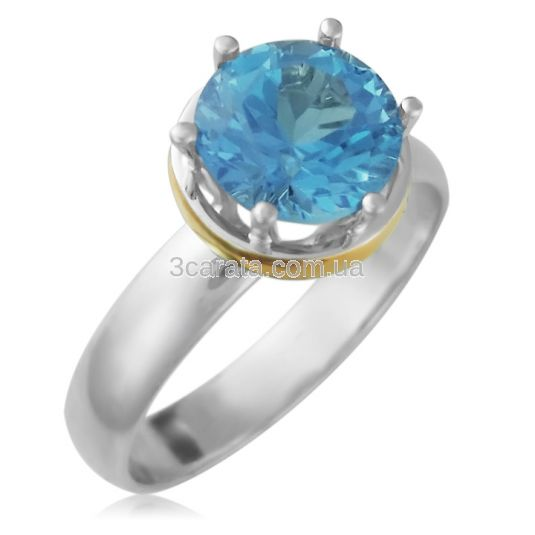 Кольцо с большим топазом из золота