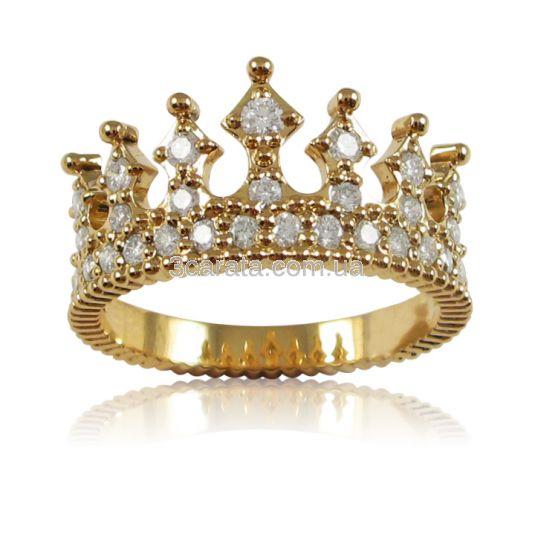 Золота каблучка корона з розсипом діамантів «Crown»