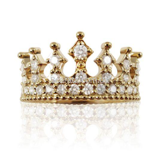 Золота каблучка корона з розсипом фіанітів «Crown»