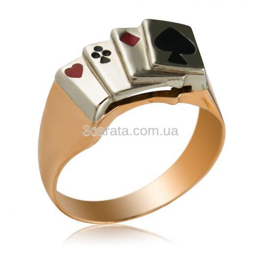 Золотий перстень чоловічий «Козирний Туз»