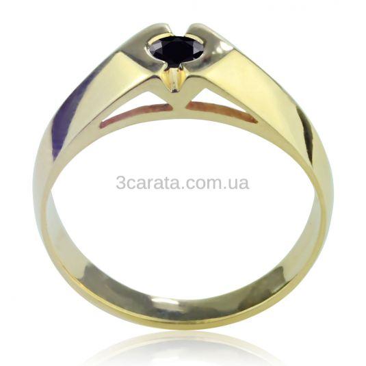 Золотий чоловічий перстень «Чорний діамант»
