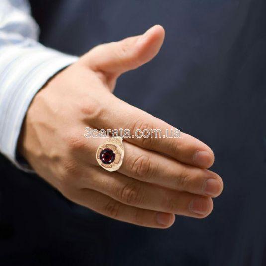 Чоловічій перстень з гранатом «Константа»
