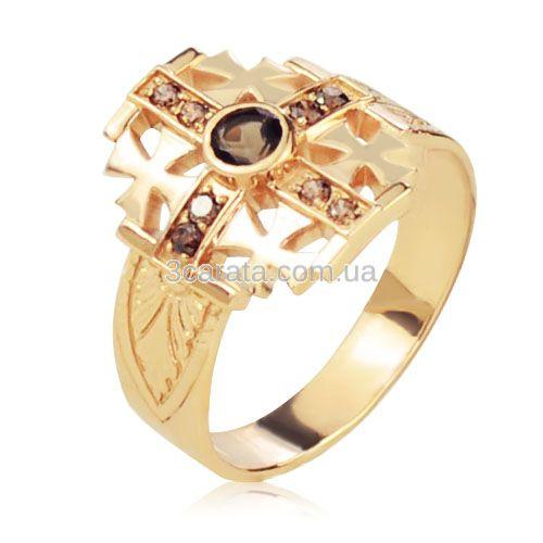 Золотий перстень з раухтопазом «Мальтійський Хрест»