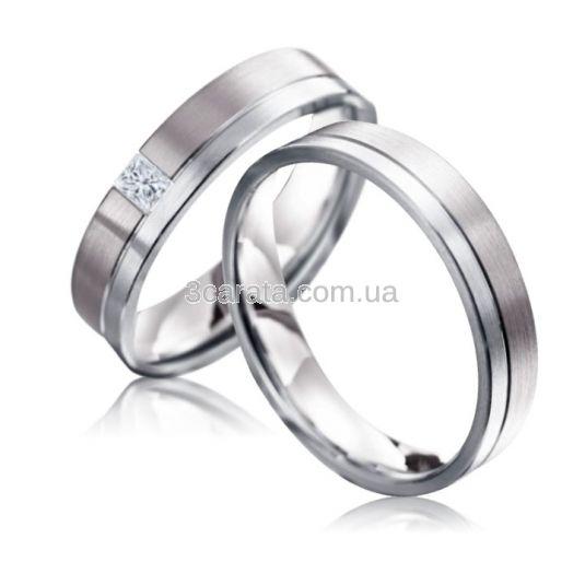 Парні обручки з діамантом «Стильні»