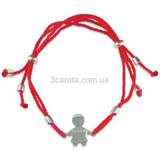 Золотий браслет для мами «Хлопчик» з червоною ниткою