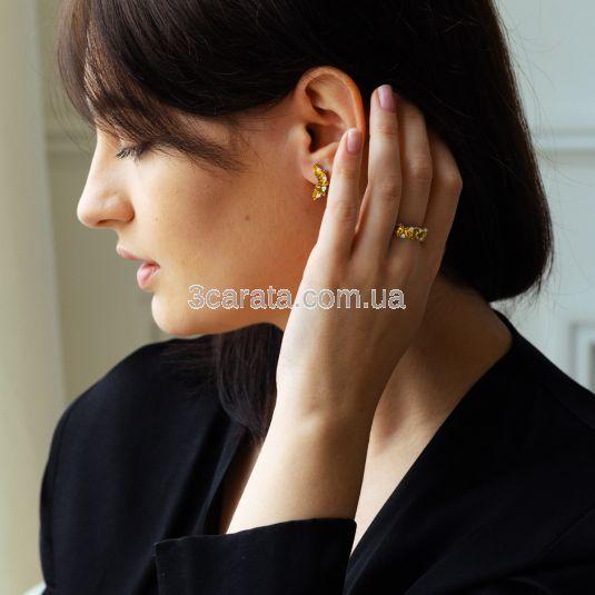 Золота каблучка з цитринами та сваровськи «Кімберлі»