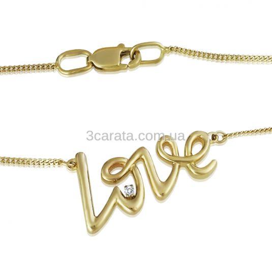 Золотий кулон кольє «Love» на ланцюжку з діамантом