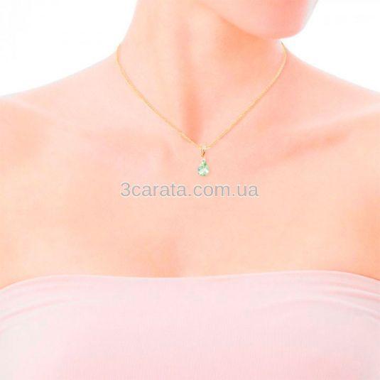 Золотий кулон c бериллом і невеликим діамантом «Mistery»