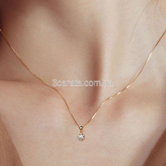 Золотий кулон c розсипом діамантів «Floraison»