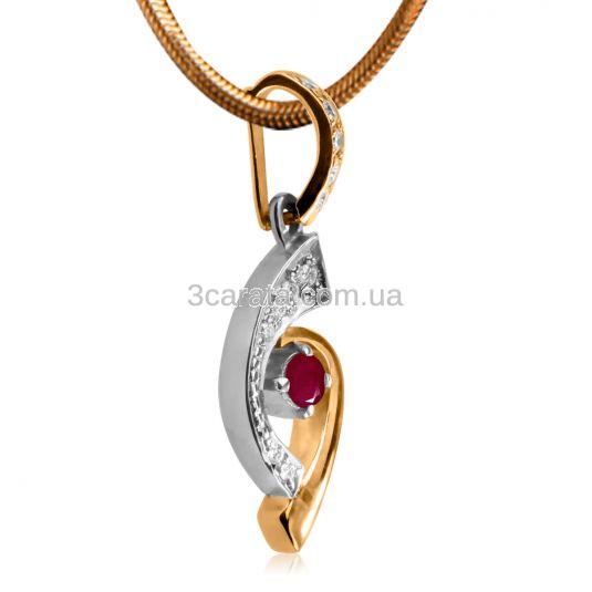 Золотий кулон с рубіном и Сваровські «Веселка»