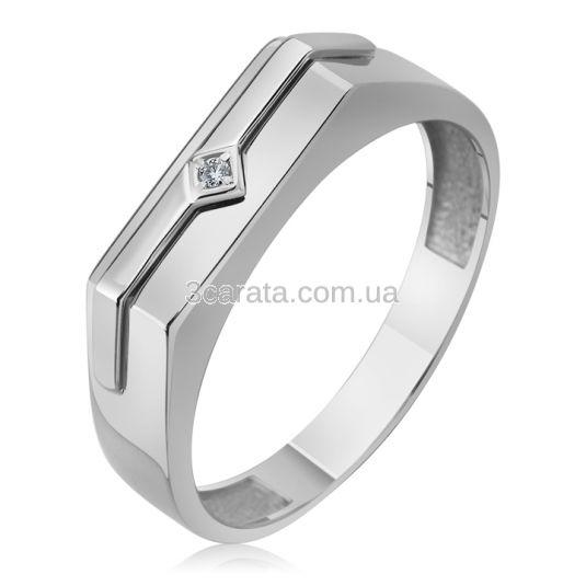 Золотий чоловічий перстень з невеликим діамантом «Лідер»