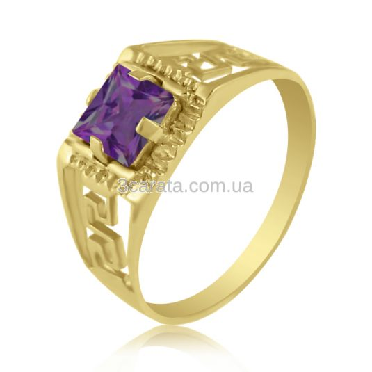 Золотий перстень з квадратним аметистом «Меандр»