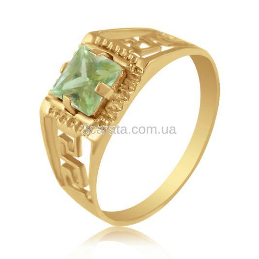 Золотий перстень з квадратним берилом «Меандр»