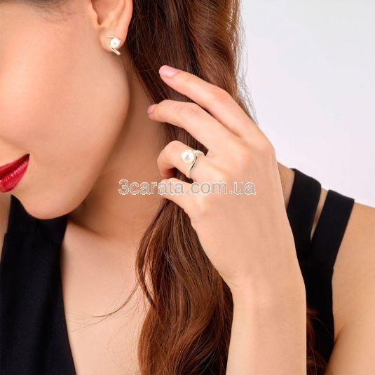 Золоті сережки з перлиною і білими сапфірами «Лірика»